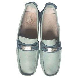 Yves Saint Laurent-Pale blue loafers-Light blue