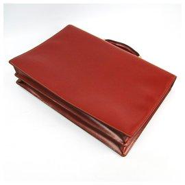 Loewe-Loewe Brown Leather Logo Briefcase-Brown,Golden