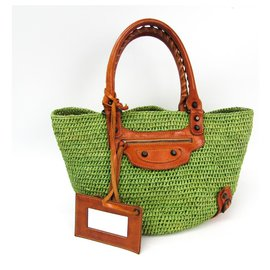 Balenciaga-Balenciaga Green Raffia Panier Shoulder Bag-Brown,Green
