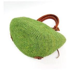 Balenciaga-Balenciaga Sac à bandoulière en raphia vert-Marron,Vert