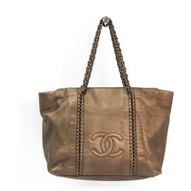 Chanel-Chanel Brown Chain Tote-Brown,Bronze