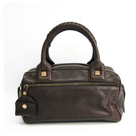 Céline-Celine Brown Leather Handbag-Brown