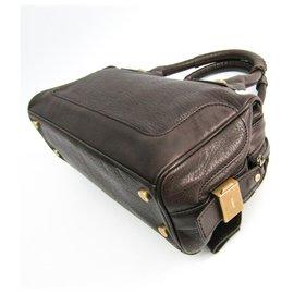 Céline-Celine Brown Leather Handbag-Brown