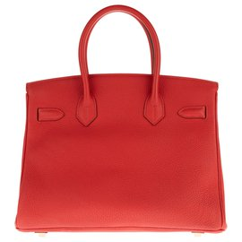 Hermès-Superbe Hermès Birkin 30 Togo Rouge, accastillage doré, en excellent état !-Rouge