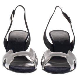 Hermès-Open sandals Hermès black / silver new condition!-Black,Silvery