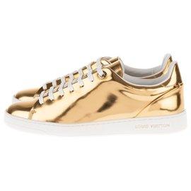 Louis Vuitton-Sneakers pour femme Louis Vuitton Frontrow en cuir doré, taille 37, état neuf !-Doré