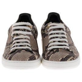 Louis Vuitton-Sneakers pour femme Louis Vuitton Frontrow en cuir de Python, taille 37, état neuf !-Noir,Gris,Écru