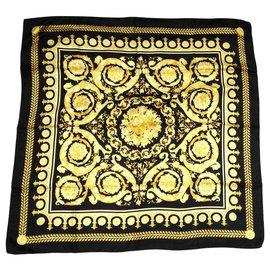 Gianni Versace-Silk scarves-Black,Golden,Yellow