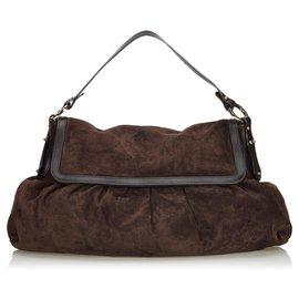 Fendi-Fendi Brown Suede Chef Shoulder Bag-Brown,Dark brown