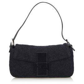 Fendi-Fendi Gray Knitted Baguette-Other,Grey