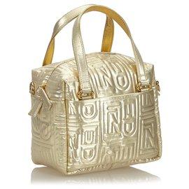 Fendi-Fendi Gold Metallic Quilted Canvas Satchel-Golden