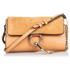 Chloé-Chloe Brown Suede Faye Crossbody Bag-Brown,Light brown