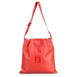 Fendi-Fendi Red Leather Bucket Bag-Red