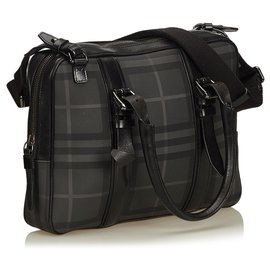 Burberry-Burberry Gray Nova Check Briefcase-Black,Grey