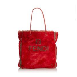 Fendi-Fendi Red Faux Fur Tote-Red