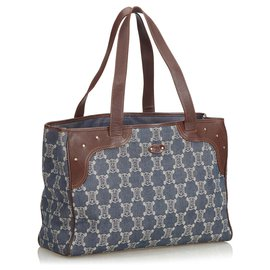 Céline-Celine Blue Macadam Denim Tote Bag-Brown,Blue,Navy blue