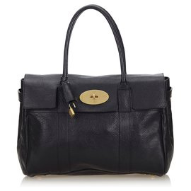 Mulberry-Mulberry Black Leather Bayswater Handbag-Black