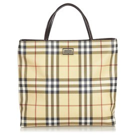 Burberry-Burberry Brown Plaid Canvas Tote Bag-Brown,Multiple colors,Beige