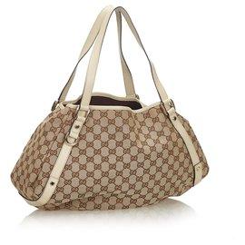 Gucci-Sac cabas en toile Pelham en toile marron GG de Gucci-Marron,Blanc,Beige,Écru