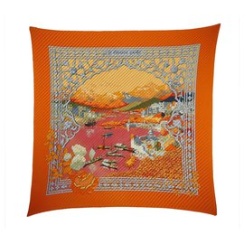 Hermès-Hermes Orange Le Fleuve Sacre Silk Scarf-Multiple colors,Orange