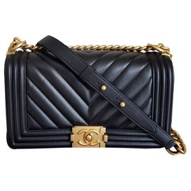 Chanel-Chanel Boy Medium Chevron-Black