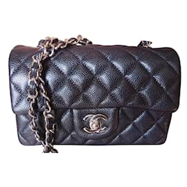 Chanel-Chanel Classic Mini Timeless bag in calf leather caviar-Black
