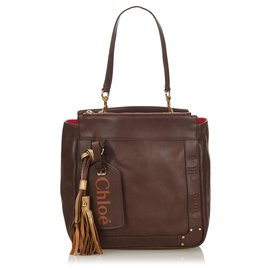 Chloé-Chloe Brown Leather Eden Tote Bag-Brown