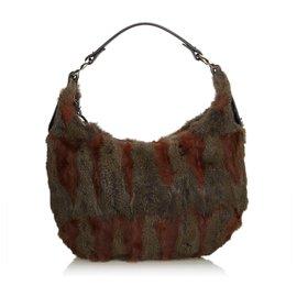 Fendi-Fendi Brown Fur Hobo Bag-Brown,Red,Dark brown