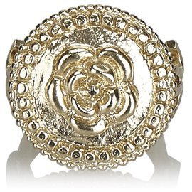 Chanel-Chanel Gold Camellia Metallic Ring-Golden