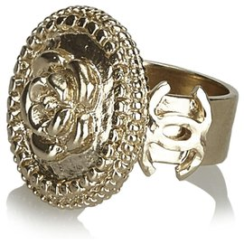 Chanel-Chanel Gold Kamelie Metallic Ring-Golden