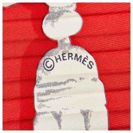 Hermès-Hermes Red Pleated Plaza de Toros Silk Scarf-Red,Multiple colors