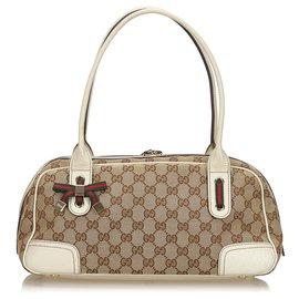 Gucci-Gucci Brown GG Canvas Web Princy Sac à bandoulière-Marron,Blanc,Beige