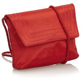 Fendi-Fendi Red Canvas Crossbody Bag-Red