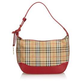 Burberry-Burberry Brown Plaid Jacquard Handbag-Brown,Multiple colors,Beige