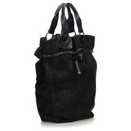 Gucci-Sac cabas en daim noir Gucci-Noir