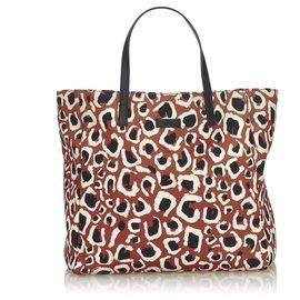 Gucci-Sac cabas en nylon à imprimé léopard brun de Gucci-Marron,Noir,Beige