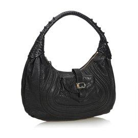 Fendi-Fendi Black Leather Spy-Black