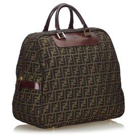 Fendi-Fendi Brown Zucca Canvas Travel Bag-Brown