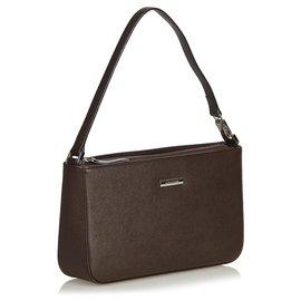 Burberry-Burberry Brown Leather Baguette-Brown,Dark brown