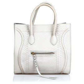 Céline-Celine Gray Python Medium Luggage Phantom-Grey