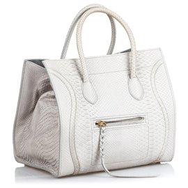 Céline-Celine Gray Python Medium Luggage Phantom-Grey