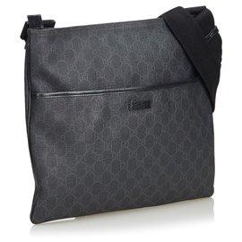 Gucci-Sac à bandoulière Gucci Grey GG-Noir,Autre,Gris