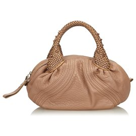 Fendi-Fendi Brown Leather Mini Spy Handbag-Brown,Beige