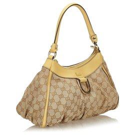 Gucci-Gucci Brown GG Canvas Abbey Sac à bandoulière avec anneau-Marron,Beige
