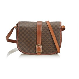 Céline-Celine Brown Macadam Crossbody Bag-Brown