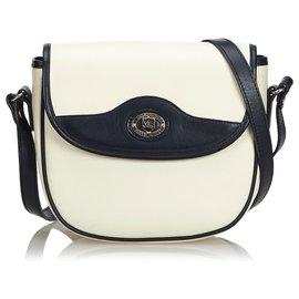 Burberry-Burberry White Leather Crossbody Bag-Black,White