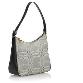 Burberry-Burberry Gray Plaid Jacquard Shoulder Bag-Black,Grey