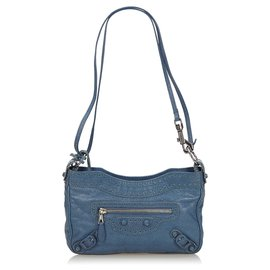 Balenciaga-Balenciaga Blue Perforated Brogues Hip Crossbody Bag-Blue