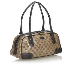 Gucci-Gucci Brown GG Crystal Web Sac à bandoulière Princy-Marron,Beige,Marron foncé