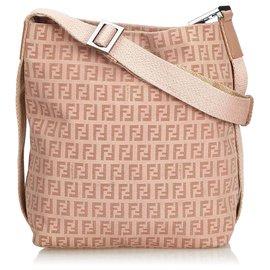 Fendi-Fendi Pink Zucchino Canvas Crossbody Bag-Pink